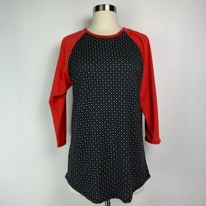 LulaRoe Randy Tee Red Black White Polka Dot Size M